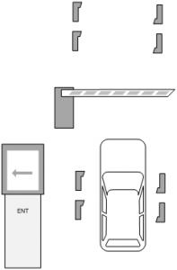Паркинг с карточными стойками и автоматическим терминалом оплаты - въезд