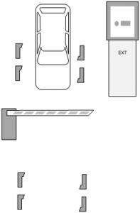 Паркинг с карточными стойками и автоматическим терминалом оплаты - выезд